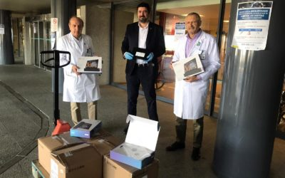 """El Rotary Club de Pontevedra hace la primera entrega de 20 tablets al hospital de Montecelo para las personas aisladas por coronavirus  – """"ROTARY CONECTA EL MUNDO Y A TI CON LOS TUYOS»"""