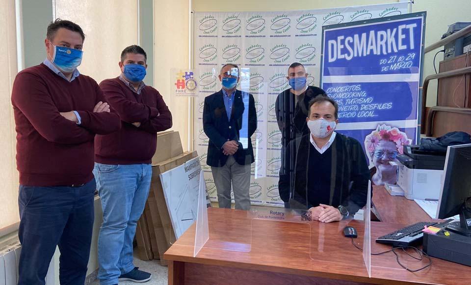 EL RC PONTEVEDRA entrega mamparas protección ANTI COVID