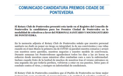 EL ROTARY CLUB DE PONTEVEDRA SOLICITA EL PREMIO CIUDAD DE PONTEVEDRA PARA EL COLECTIVO SANITARIO Y SOCIOSANITARIO